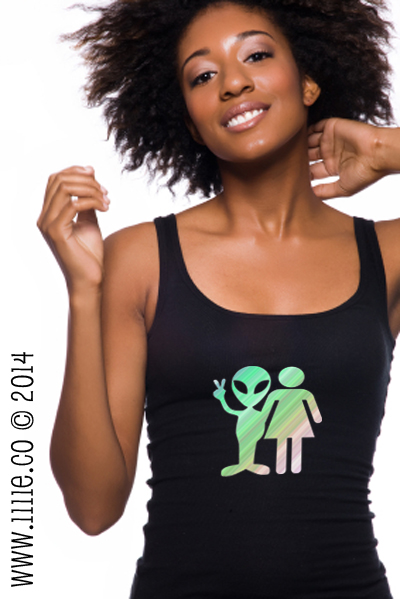 NEW T-SHIRTS: Intergalactic Couple -Woman & Alien Holding Peace Sign