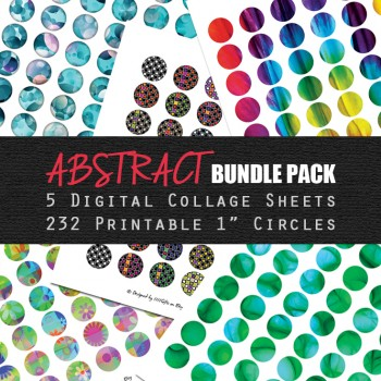 5 Digital Collage Sheets in One * 232 Printable Circles * Instant Download