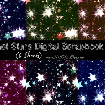 "Abstract Stars Digital Scrapbook Paper Download Set * 6 Beautiful 12x12"" Images for Scrapbooking and Crafts * Printable, Instant Download"