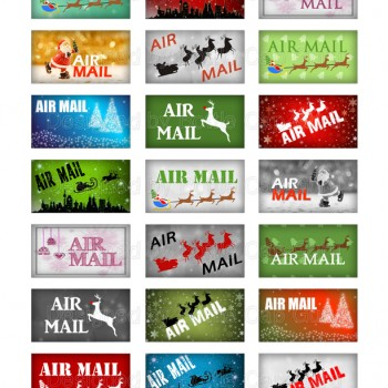 "Decorate your gifts and stocking stuffers with Santa ""AIR MAIL"" stamps."