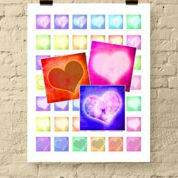Glowing Grunge Hearts 1 Inch Square Printable Digital Collage Sheet