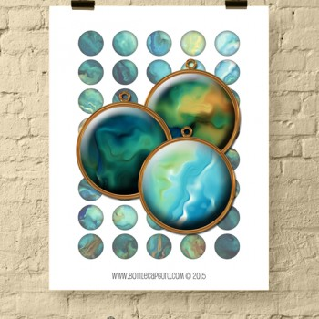 SILKY OIL PAINT Circles / 1 Inch Abstract Printable Bottle Cap Images