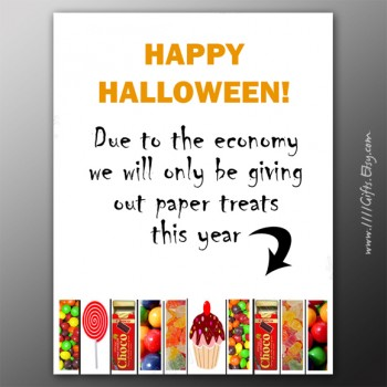 "Funny Halloween Tear-Off Flyer for Trick or Treaters * ""Due to the Economy"" * Instant Download"