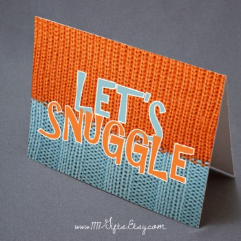 Let's Snuggle * Romantic Winter Card for a Cold Day * Instant Download