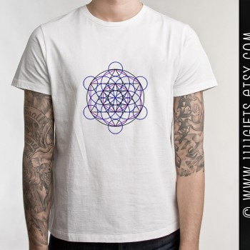 Merkaba Field Iron On T-Shirt Transfer: Flower of Life with Star Tetrahedron * DIY Gift Idea * Sacred Geometry * Printable, Instant Download