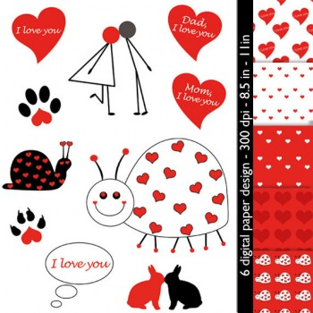 Valentine's Day Digital Scrapbook Paper Set * 6 Fun Heart Images for Scrapbooking & Crafts, Mother's Day * Printable, Instant Download