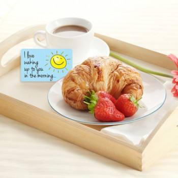 I love waking up to you in the morning. - Printable Breakfast in Bed cards.
