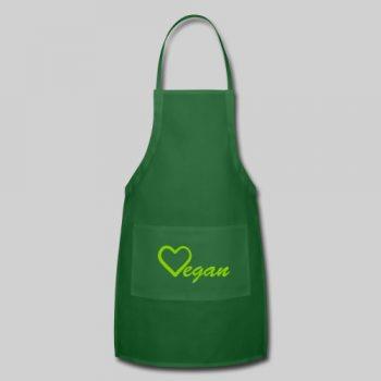 vegan heart green apron