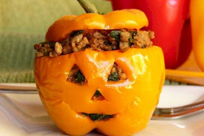 Mini Jack-O-Lantern Stuffed Squash or Bell Peppers