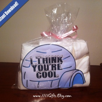 I Think You're Cool - DIY Valentine's Day Igloo Marshmallow Goodie Bags