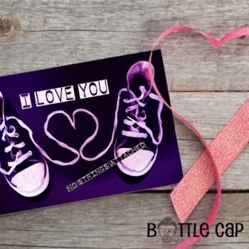 I Love You No Strings Attached * Shoelace Heart Greeting Card for Valentine's Day, Anniversaries