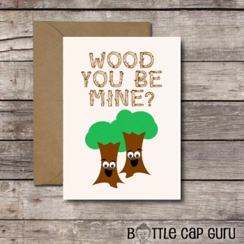 WOOD You Be Mine? / Funny Trees Valentine's Day Card