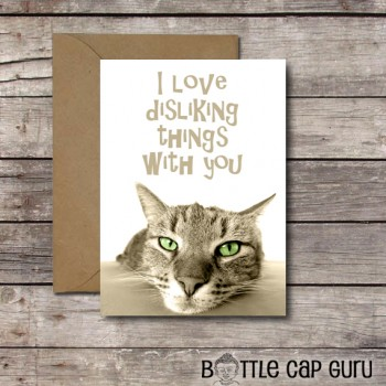 I Love Disliking Things With You Funny Cat Valentine Card