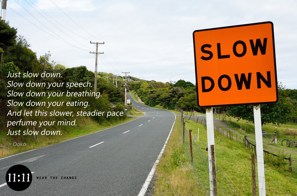 """Just slow down. Slow down your speech. Slow down your breathing. Slow down your eating. And let this slower, steadier pace perfume your mind. Just slow down."" – Doko"